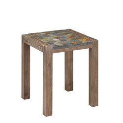 Bowery Hill End Table in Wire Brushed with Slate Top