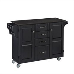 Bowery Hill Kitchen Cart with Granite Top in Black