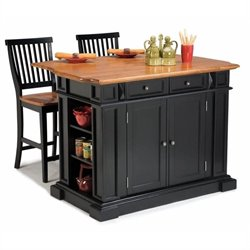 Bowery Hill Roll Out Leg Kitchen Island Set in Black and Oak