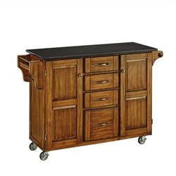 Bowery Hill Black Granite Kitchen Cart in Cottage Oak Wood