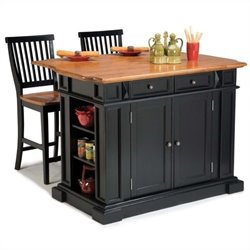 Bowery Hill Kitchen Island and Stools in Black and Distressed Oak