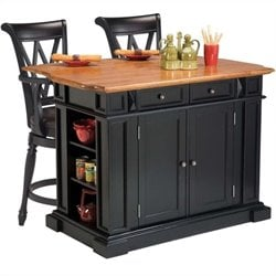 Bowery Hill Kitchen Island in Black and Oak and 2 Bar Stools