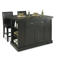 Bowery Hill Island and Two Stools in Distressed Black