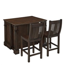 Bowery Hill Kitchen Island Cart with Stools in Black