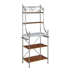 Bowery Hill Marble Baker's Rack in Vintage Caramel