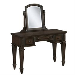 MER-1185 Bowery Hill Vanity and Mirror in Black Oak