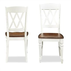 Bowery Hill Double X Back Dining Chair in White and Oak (Set of 2)