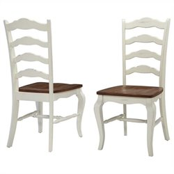Bowery Hill Dining Chair in Oak and Rubbed White (Set of 2)