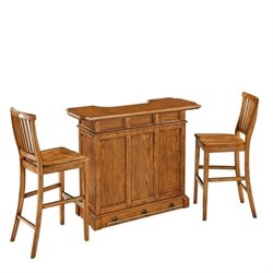 Bowery Hill 3 Piece Home Bar Set in Oak