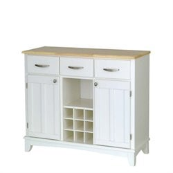 Bowery Hill Wine Rack Buffet with Natural Wood Top in White