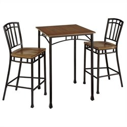 Bowery Hill 3 Piece Pub Set in Oak and Brown