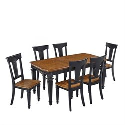 Bowery Hill 7 Piece Dining Set in Black Oak