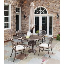 MER-1185 Floral Blossom 5 Piece Metal Patio Dining Set II