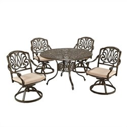 Bowery Hill 5 Piece Metal Patio Dining Set in Taupe