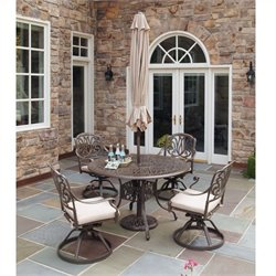 MER-1185 Floral Blossom 5 Piece Metal Patio Dining Set III
