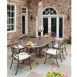 Bowery Hill 7 Piece Metal Patio Dining Set in Taupe