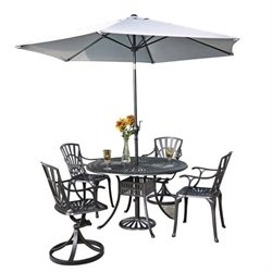 MER-1185 Largo 6 Piece Patio Dining Set with Umbrella in Charcoal 6