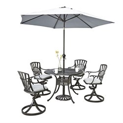 Bowery Hill 6 Piece Patio Dining Set with Umbrella in Charcoal