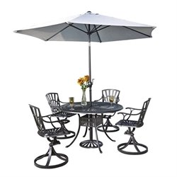 MER-1185 Largo 6 Piece Patio Dining Set with Umbrella in Charcoal 3