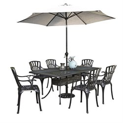 MER-1185 Largo 8 Piece Patio Dining Set with Umbrella in Charcoal 2