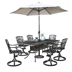 MER-1185 Largo 8 Piece Patio Dining Set with Umbrella in Charcoal
