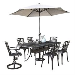 MER-1185 Largo 8 Piece Patio Dining Set with Umbrella in Charcoal 3