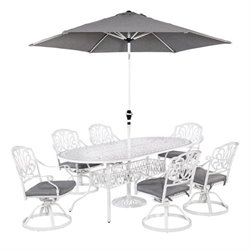 MER-1185 Home Styles Floral Blossom 7 Piece Dining Set in White