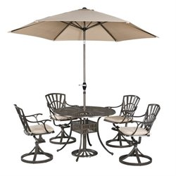 MER-1185 Largo 5 Piece Dining Set in Taupe (with umbrella + cushions)