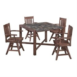 MER-1185 Morocco 5 Piece Dining Set in Wire Brushed