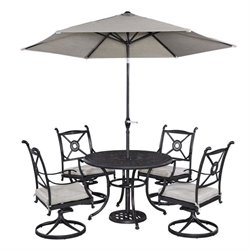 MER-1185 Home Styles Athens 5 Piece Dining Set in Charcoal with umbrella