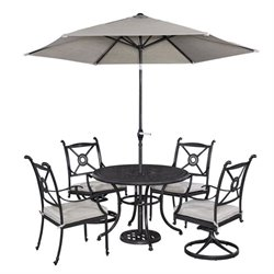 MER-1185 Home Styles Athens 5 Piece Dining Set in Charcoal with umbrella I