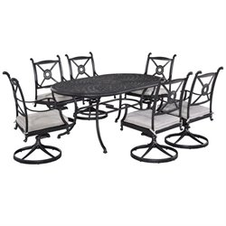 MER-1185 Athens 7 Piece Dining Set in Charcoal