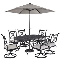 MER-1185 Athens 7 Piece Dining Set in Charcoal (with umbrella)