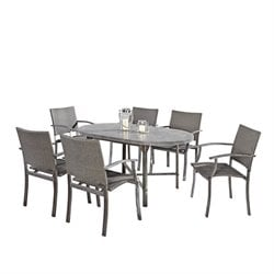 MER-1185 Home Styles Urban 7 Piece Patio Dining Set in Aged Metal