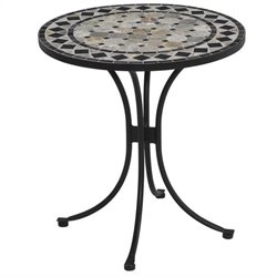 Bowery Hill Patio Bistro Table in Black and Gray