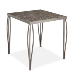 Bowery Hill Marble Top Patio Bistro Table in Gray
