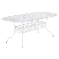Bowery Hill Oval Patio Dining Table in White