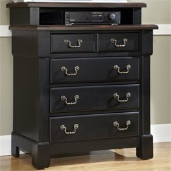 Bowery Hill 4 Drawer Media Chest in Rustic Cherry and Black
