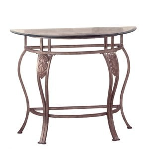 Bowery Hill Glass Top Console Table in Bronze Pewter