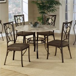 Bowery Hill 5 Piece Round Stone Top Dining Set