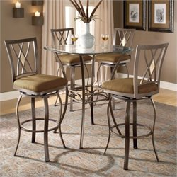 Bowery Hill 5 Piece Glass Top Pub Set in Metallic Brown