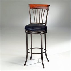 MER-1184 Faux Leather Swivel Bar Stool in Black and Cherry