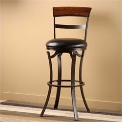 MER-1184 Swivel Bar Stool in Black and Gold