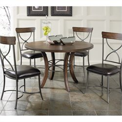 Bowery Hill 5 Piece Round Dining Set in Chestnut Brown