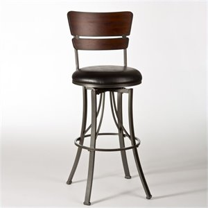 MER-1184 Leather Swivel Bar Stool in Pewter and Cherry