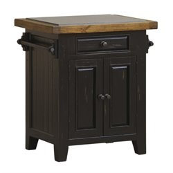 Bowery Hill Granite Top Kitchen Island in Black