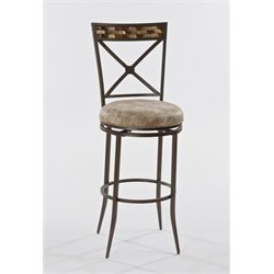 Bowery Hill Faux Leather Swivel Counter Stool in Brown