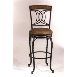 MER-1184 Faux Leather Swivel Bar Stool in Antique Brown