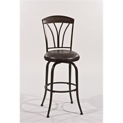 Bowery Hill Faux Leather Swivel Counter Stool in Bronze Pewter