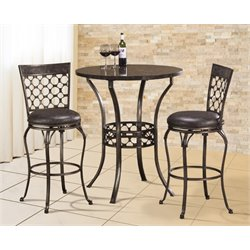 Bowery Hill 3 Piece Round Pub Set in Antique Pewter
